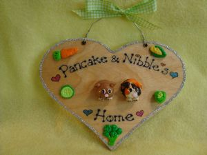 2 character 3d Guinea Pig or Bunny Rabbit Heart Hutch Run Room Home Sweet Home House Cage Personalised Plaque Sign Any Colour Pet